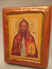 Saint Gallus Gall Catholic & Orthodox Byzantine Rose Gold Christian Icon on Wood