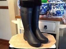 Le Chameau Womens Black Rubber Rain Boots Shoes Sz EU 39 / US 7.5