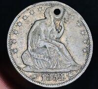 1854 Seated Liberty Half Dollar 50C Arrows High Grade Det. US Silver Coin CC6519