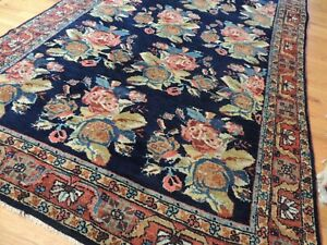 4x6 French design Oriental Rug Floral Navy Blue Rust Salmon Semi-Antique