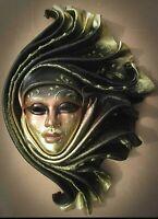 Naima - Maschera veneziana artigianale in ceramica e cuoio
