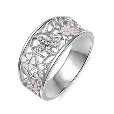 Popular Cherry blossoms Silver Ring wedding accessories party jewelry Size 8