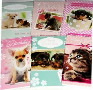 29p GREAT PRICE! 'PETS' CARDS X 36  FREE POSTAGE, 6 DESIGNS X 6, WRAPPED