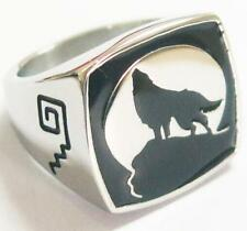 WOLF HOWLING AT MOON STAINLESS BIKER RING #512-S Fashion mens womens animal NEW
