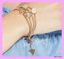 GUESS Jeans Rhinestones Logo Bangle  Bracelet  Gold Tone Charms Hearts   NWT