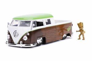 Jada Diecast Metal Hollywood Rides 1:24  1963 VW BUS TRUCK W/ GROOT