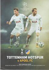 Tottenham (Spurs) V APOEL FC 2017-18 Champions League programme à Wembley