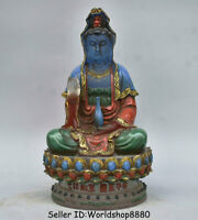 "8.8"" Old Chinese coloured glaze Painting Kwan-Yin Guan Yin Goddess Lotus Statue"