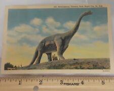 Postcard Sd Rapid City Brontosaurus Dinosaur Park Vintage Linen R50