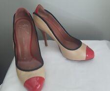 Giuseppe Zanotti high heel leather shoes Stiletto tan red almond toe Italy 38.5