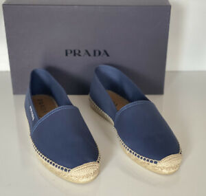 NIB PRADA Men's Blue Canvas Espadrille Slim Loafers 12 US (Prada 11)  2DE126