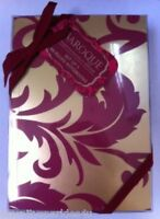 WHSMITH RUBY & GOLD 'BAROQUE' BOXED SET OF 3 x A6 METALLIC FINISH NOTEBOOKS