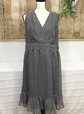 Womens Avenue Polka Dots Dresss sz 18 Ruffle Hem Sleeveless