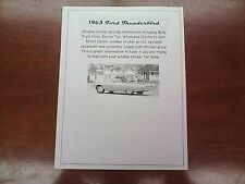 1963 Ford Thunderbird factory cost/dealer sticker pricing for base + options $$$