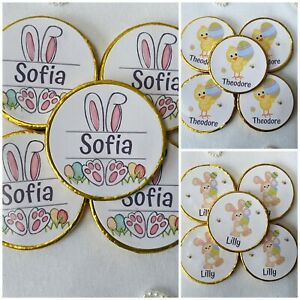5 x personalised milk Chocolate Easter coins - Easter egg hunt - Easter Bunny