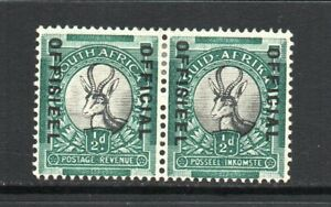 South Africa - 1937-44, ½d Grey & Blue-Green (Official) (sgO31a) Mint Pair