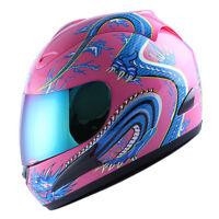 NEW Motorcycle Full Face Helmet Street Bike Adult Blue Dragon Pink Size S M L XL
