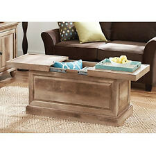 Rustic Coffee Table Hidden Storage Compartment Solid Wood Living Room Furniture
