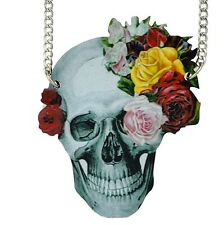 BIG FLOWERY SKULL NECKLACE wooden statement rose rockabilly day of the dead emo