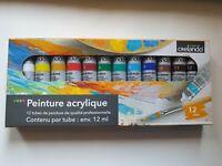 Set peinture Acrylique 12 Tubes De12ml Chacun 12 Couleurs