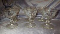 Vintage Champagne Sherbet Glasses by Libbey Rock Sharpe  White Rose Design 6