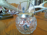 RARE FOSTORIA AMERICAN CRYSTAL JAM CONTAINER WITH LID AND SPOON