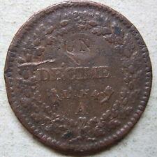Revolution UN décime sur 2 décimes Dupré cuivre an 4 / France copper coin 1796