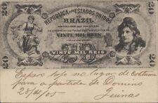 BRAZIL BANKNOTE 20 MIL REIS BILHETE POSTAL LIVRARIA ECONOMICA