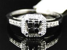 Womens Ladies Black Diamond Princess Cut Halo Engagement Wedding Ring 1/4 Ct