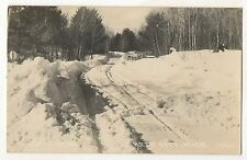 RPPC Snowy Road at REED CITY MI Vintage Osceola County Real Photo Postcard