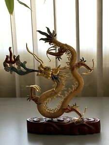 Vintage Golden Dragon Statue Beautiful Gift Decoration
