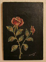 Original Oil Painting On Canvas Roses, Signed By French Artist R. Salvatore-1978