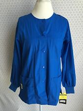 NEW WONDERWINK WOMEN NURSES, MEDICAL UNIFORM ROYAL BLUE SNAP JACKET XSMALL