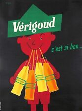 VERIGOUD 1955 by RAYMOND SAVIGNAC ORIGINAL VINTAGE FRENCH DRINKS POSTER ON LINEN