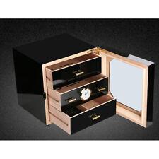 Black Gloss Piano Finish Cedar Lined Cigar Cabinet Humidor 3 Drawers COHIBA