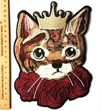 Large Kitten Cat Gold Crown Embroidered Patch Applique Iron On Jacket Roses