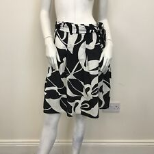 Atmosphere Ladies Black White Patterned Full Flare A-Line Belted Skirt UK Size 8