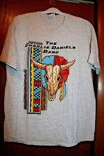 VINTAGE 80-90'S CHARLIE DANIELS BAND 2-SIDED T-SHIRT GREY XL SOUTHERN ROCK