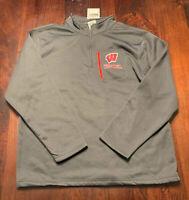 STADIUM ATHLETICS Men's Grey Wisconsin Badgers 1/4 Zip Athletic Sweatshirt, XXL