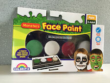 Brand New Sealed Monsters Theme Face Paint Set With Paint Crayon Brush & Sponge