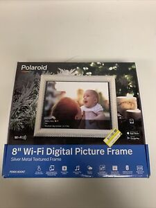"8"" WiFi Digital Photo Frame Metal Black - Polaroid OPEN BOX Tested Missing Stand"