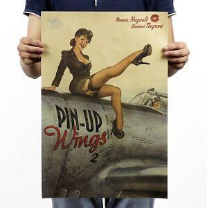 Poster Vintage Art Wall Decor coffee Shop World War II Sexy Lady Wings 14x20