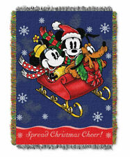 """Disney Mickey's Sleigh Ride Triple Woven Tapestry Throw in Multicolor, 48"""" x 60"""""""