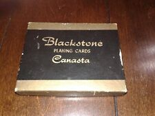 Vtg Canasta Playing Cards BLACKSTONE Set  with 1 Deck Sealed Flower Vase Design