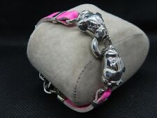 Silver Plated  Dogs Bracelet  Lether  Strap Italian Signed ROCO by LRCO