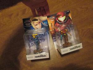 LOT 2 AMIIBO SAMUS & ZERO SUIT SAMUS METROID Nintendo Super Smash Bros Figures