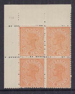 Queensland 1895 1d QV- p13 -SG206 **Burele Band**  Cat £10+++++Block 4 MUH