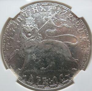ETHIOPIA 1 Birr EE 1892 NGC AU 53 About UNC Lion Manelik II.