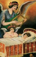 Postcard The Guardian Angel with Golden Harp Protecting Girl Sleeping Vintage