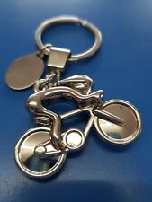 Personalised Bike Cycle Racer Keyring | Engraved Message Tag & Gift Bag Included